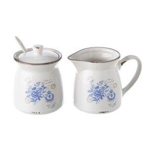 Set Sugar bowl and Mug Blue with spoon