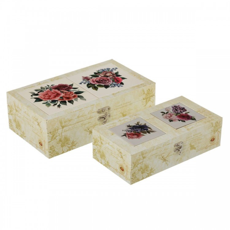Caja Vintage de Cerámica con cierre Modelo Bouquet Set de 2