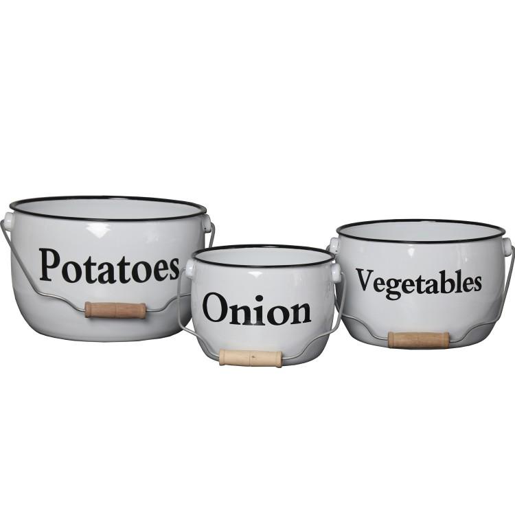 Bote para verduras de Metal Esmaltado color Blanco Set de 3