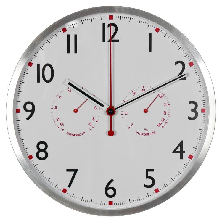 Reloj de Pared de Aluminio con Higrómetro y Termómetro
