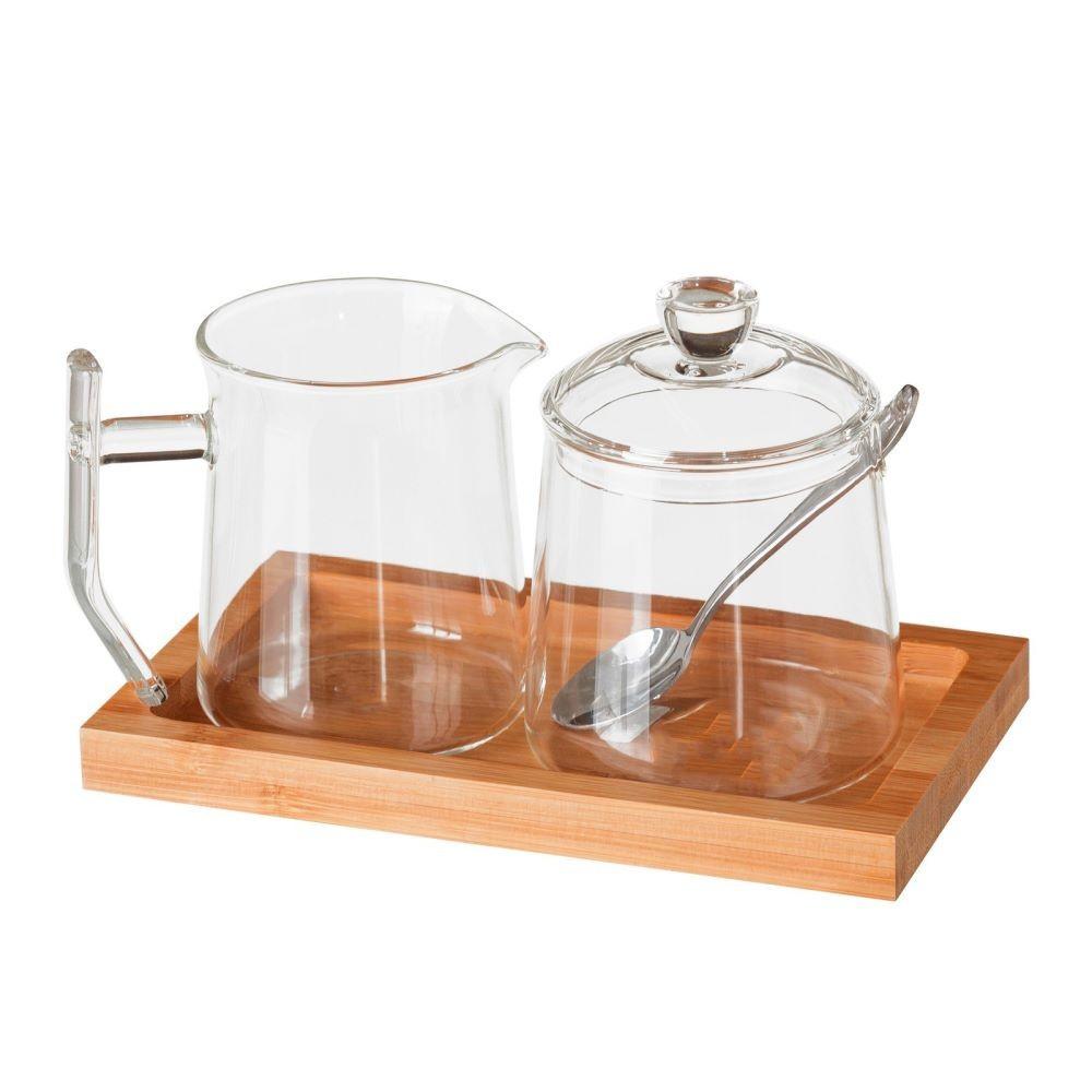 Azucarero y jarra de cristal