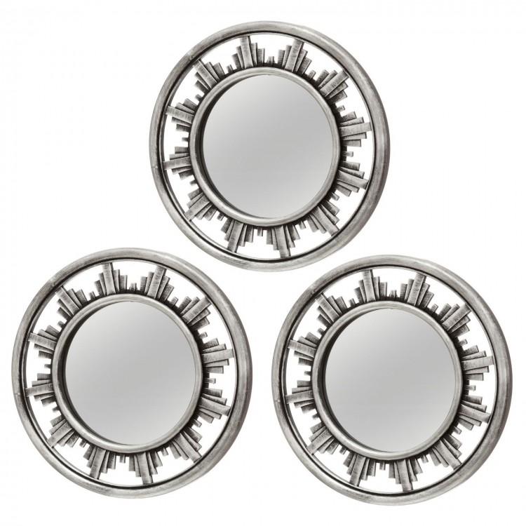 Espejo color plata forma circular Set de 3