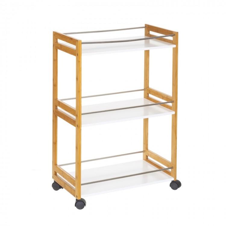 Mesa camarera con ruedas de tres alturas,  en bambú y mdf blanco