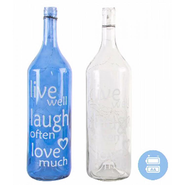 Lámpara 40 leds con forma de botella de cristal, modelo frase
