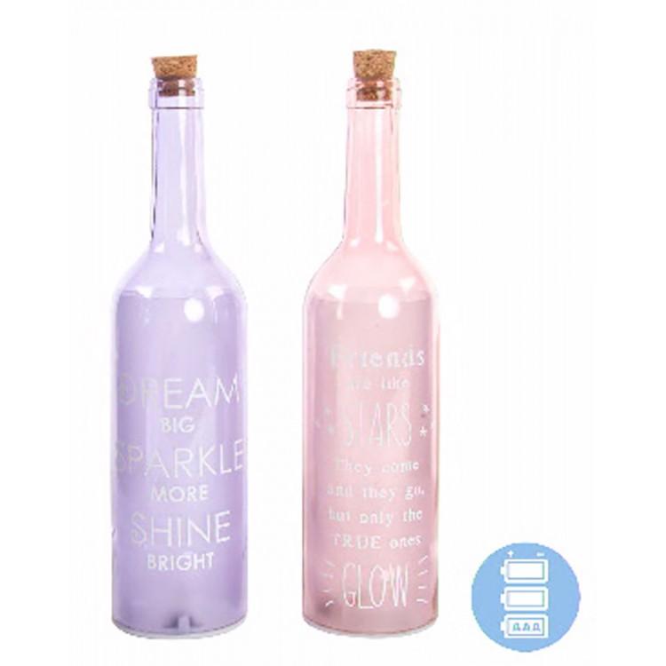 Lámpara 5 leds con forma de botella de cristal, modelo frases