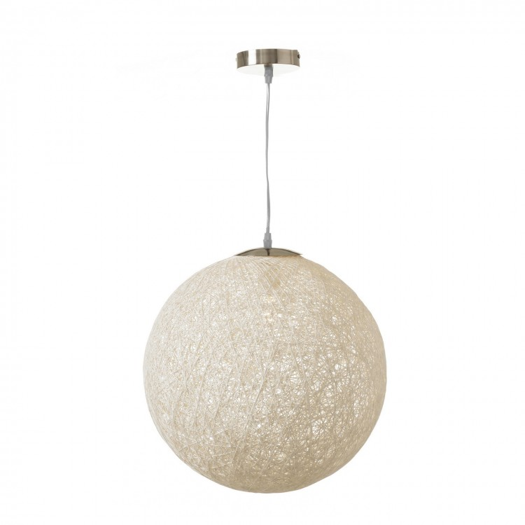 Lámpara para techo blanca en forma de bola, de fibra, calada