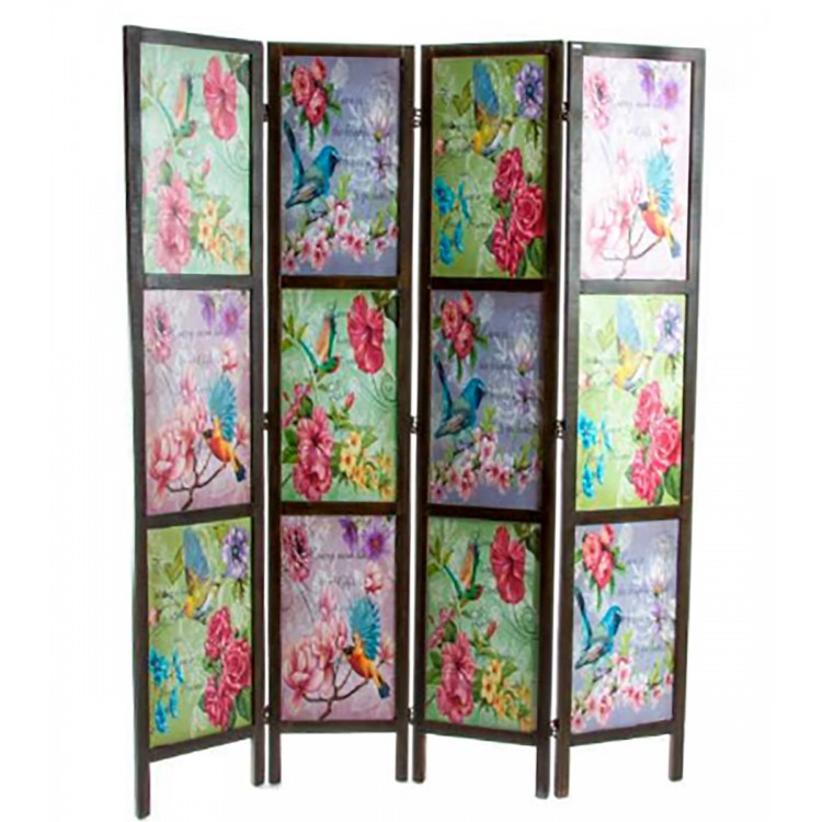 Biombo de Madera Colorido de paneles con Flores