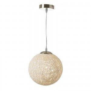Lámpara para  techo blanca en forma de bola, de fibra calada