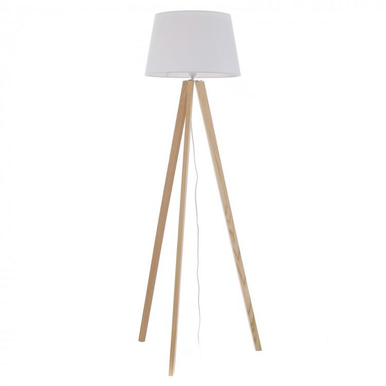 Lámpara de suelo alta y blanca de madera