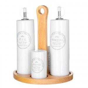 Oil/vinegar. Set 4 pieces ceramic stoneware