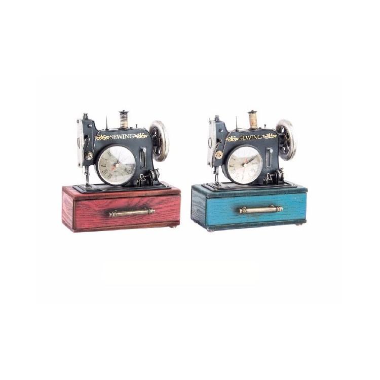 Reloj en Máquina de Coser Diseño Vintage Metálica en Caja de Madera