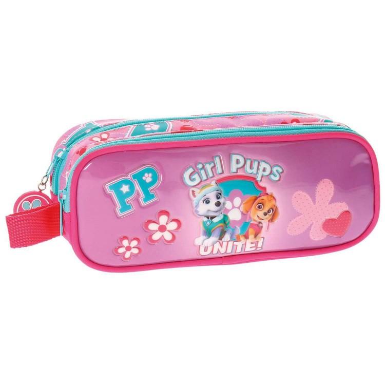 Neceser de Paw Patrol Girls Pups, de la Patrulla Canina, color Rosa, con Triple Compartimento y Asa Lateral - Hogar y Más