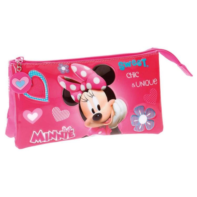 Estuche de Minnie Mouse, color Rosa, con Triple Compartimento. Diseño Infantil, con estilo Cute - Hogar y Más