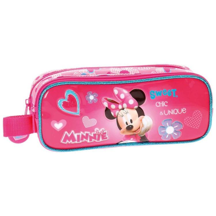Estuche de Minnie Mouse, color Rosa, con Doble Compartimento y Asa Lateral. Diseño Infantil, con estilo Cute - Hogar y Más