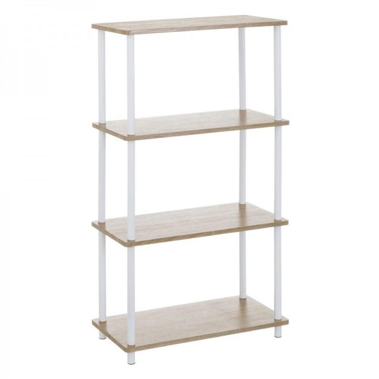 Estantería 4 baldas para baño de metal y madera - Diseño lineal - Hogar y más