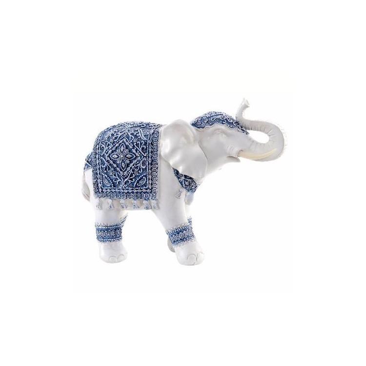Figura de Elefante Blanco Original en Resina con Adornos Étnicos Azules