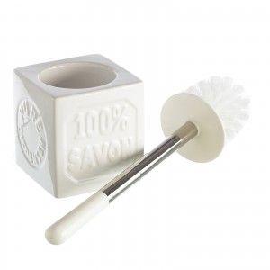 Escobillero de diseño creativo blanco de cerámica
