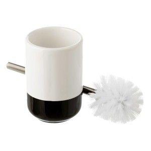 Escobillero moderno de cerámica blanco y negro