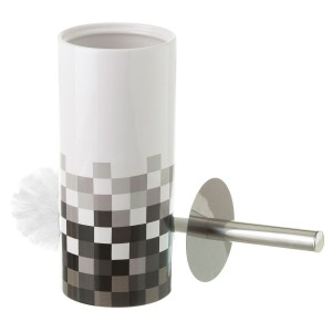 Escobillero moderno de cerámica decorado con mosaico blanco y negro