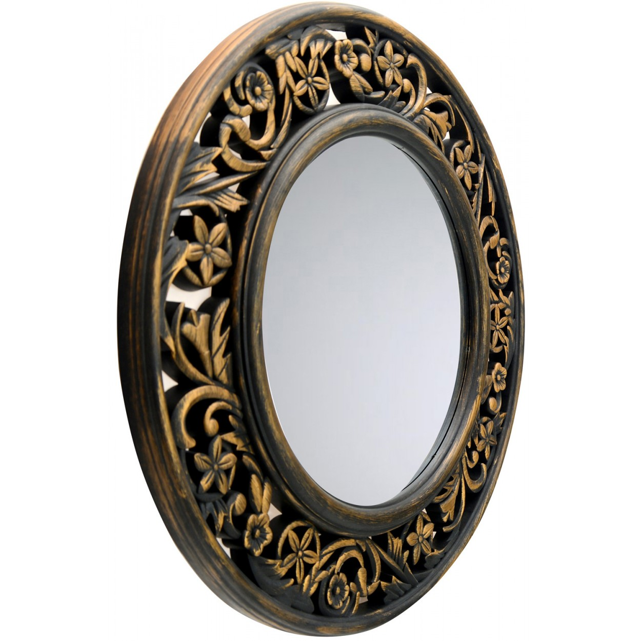 Espejo Pared Decorativo Redondo con Estilo Vintage de Color Dorado con Acabado Envejecido Hogar y M/ás Dise/ño Floral