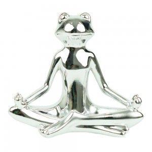 Figura de rana en cerámica plateada