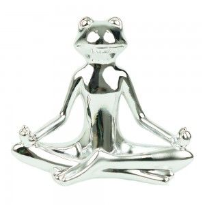 Figure of frog in ceramic silver