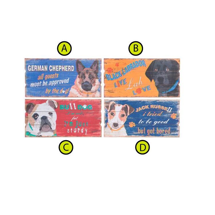 Cuadro decorativo para salón de madera con ilustración de perros Hogar y mas