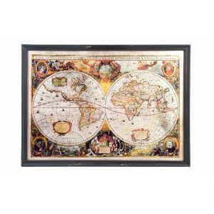 Box world map original wood and glass