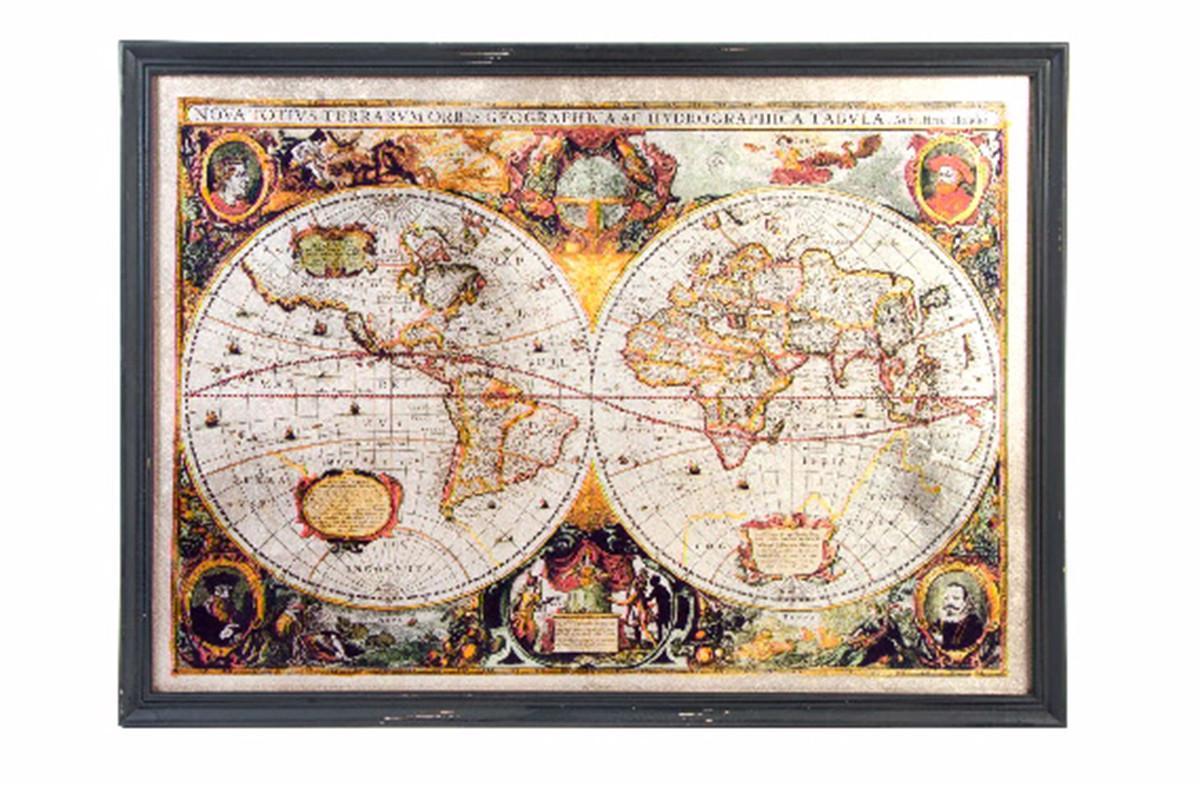 Cuadro mapamundi original de madera y cristal
