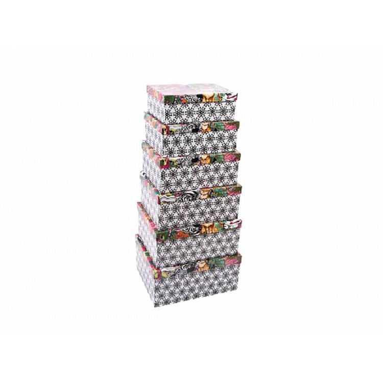 Caja de cart n decorada set de 6 hogar y m s - Cajas de carton decoradas ...