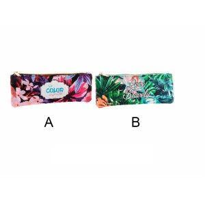 Neceser colorido decorado con hojas tropicales