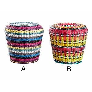 Puff Divertido de Diseño Étnico en Polipiel de Colores