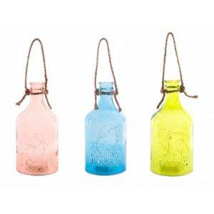 Botella con Leds Decorativa de Cristal