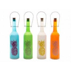 Botella con Leds Decorativa de Cristal Diseño de Piña