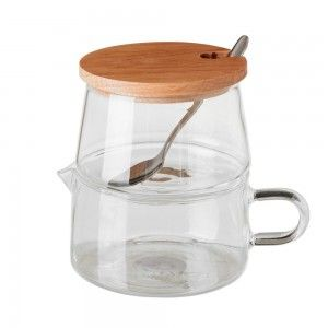 Sugar bowl-Pitcher of Glass and Natural Wood, Modern Design