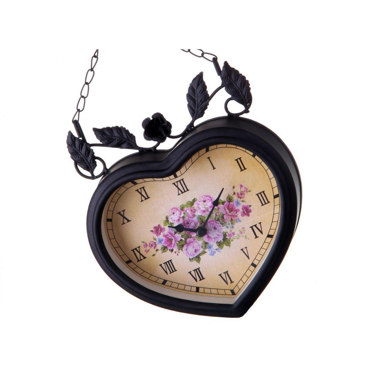 Reloj pared dise o tradicional metal negro con flores y - Reloj pared diseno ...