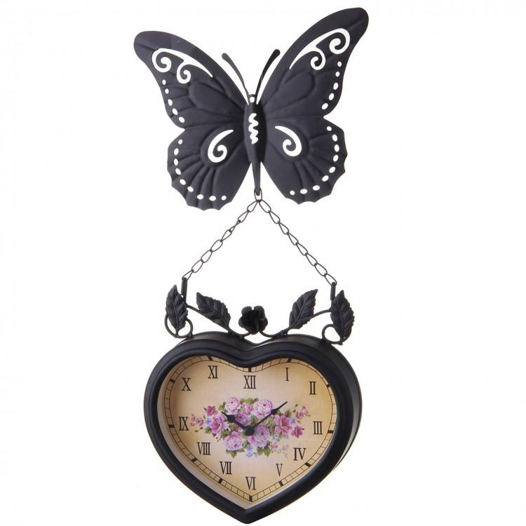 Reloj Pared Diseño Tradicional Metal Negro con Flores y Mariposa