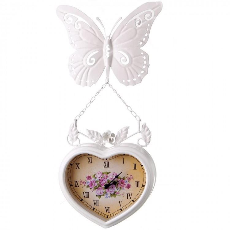 Reloj Pared Diseño Tradicional Metal Blanco con Flores y Mariposa