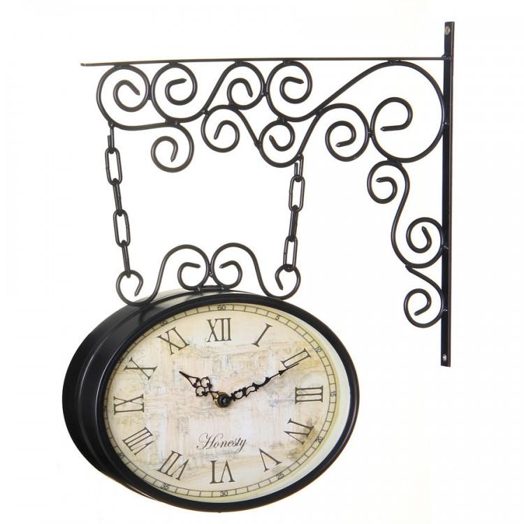 Reloj Pared Estilo Estación Diseño Clásico en Metal Negro