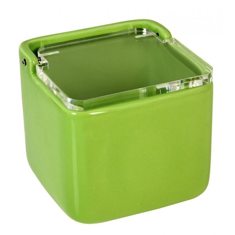Salero Cerámica Natural Verde con Tapa