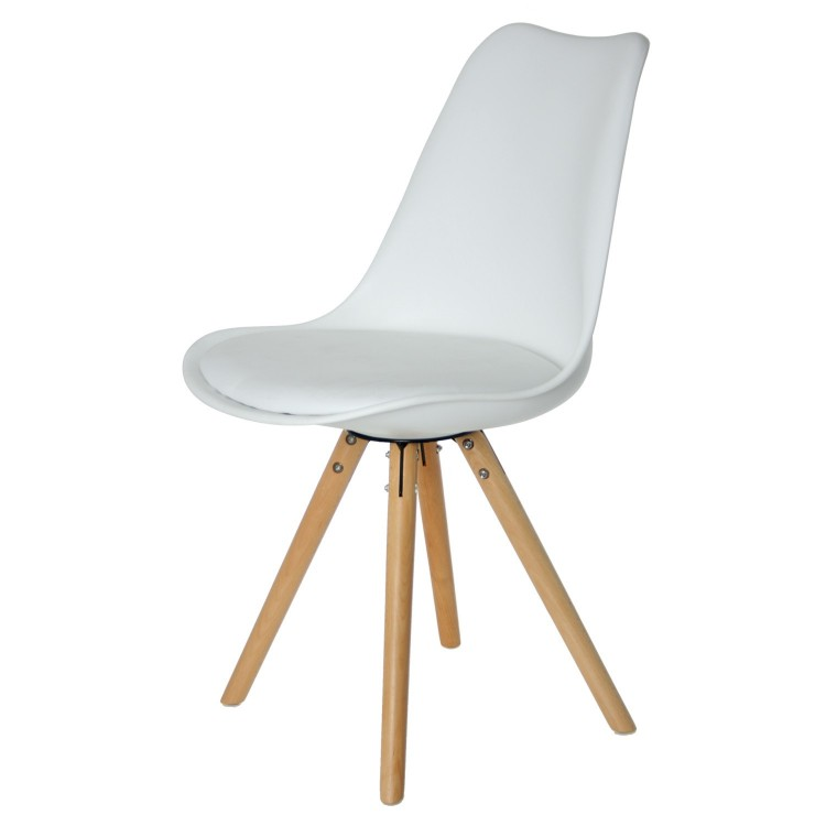 Silla n rdica color blanco de madera set de cuatro hogar for Silla nordica madera