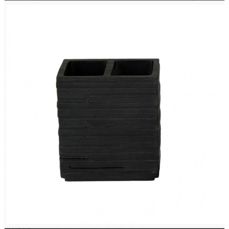 Vaso portacep llos moderno color negro para ba o hogar y m s for Accesorios bano negro