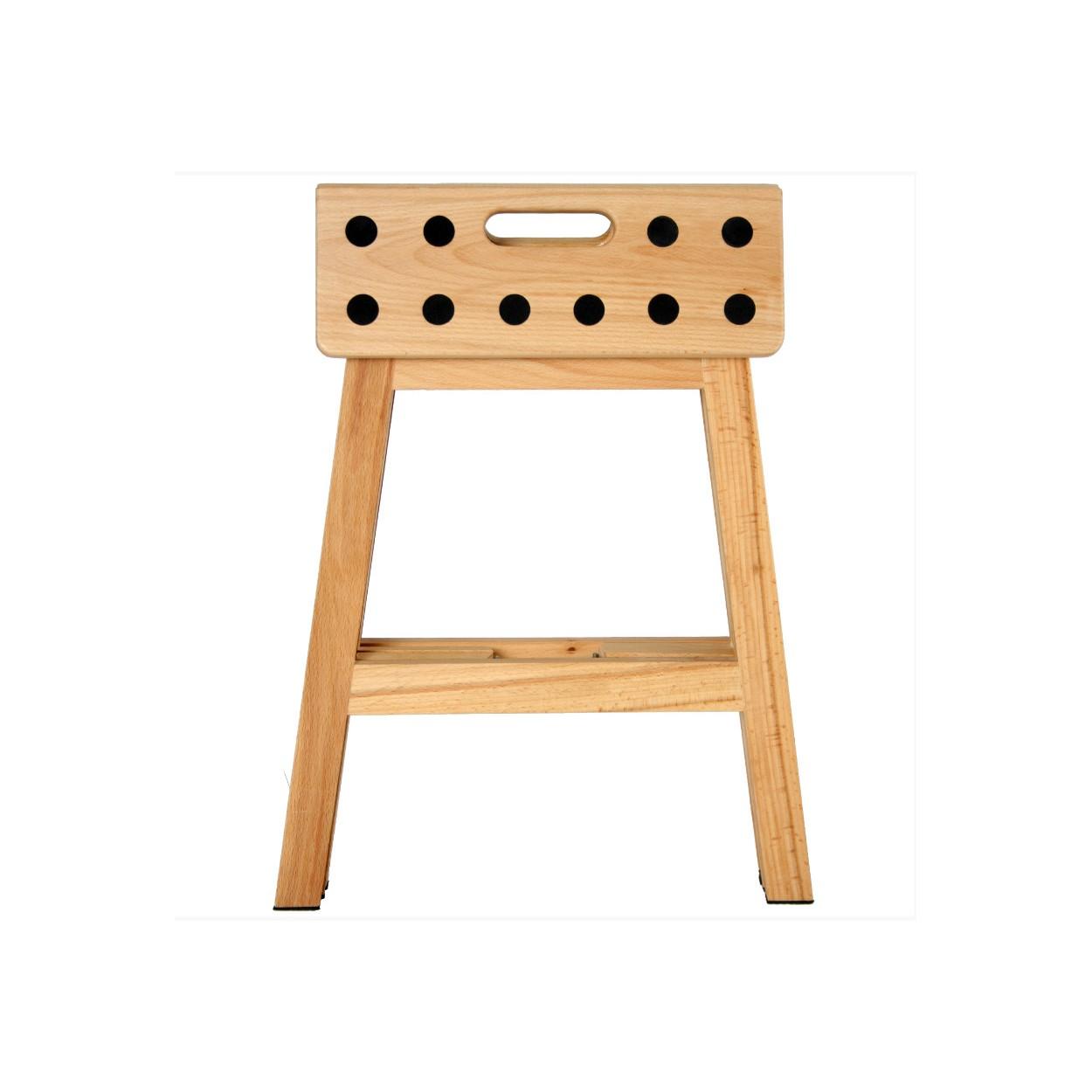 taburete escalera madera de haya natural plegable hogar y