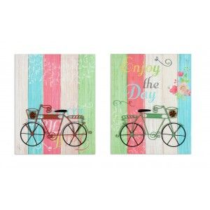 Set 2 Canvases Natural Wood Bicycle