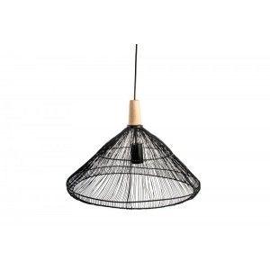 Lámpara de Techo en Metal y Madera Color Negro Diseño Moderno