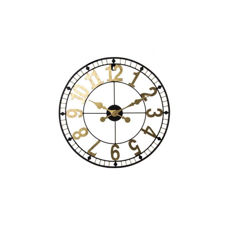 Reloj de Pared en Metal Dorado Diseño Clásico