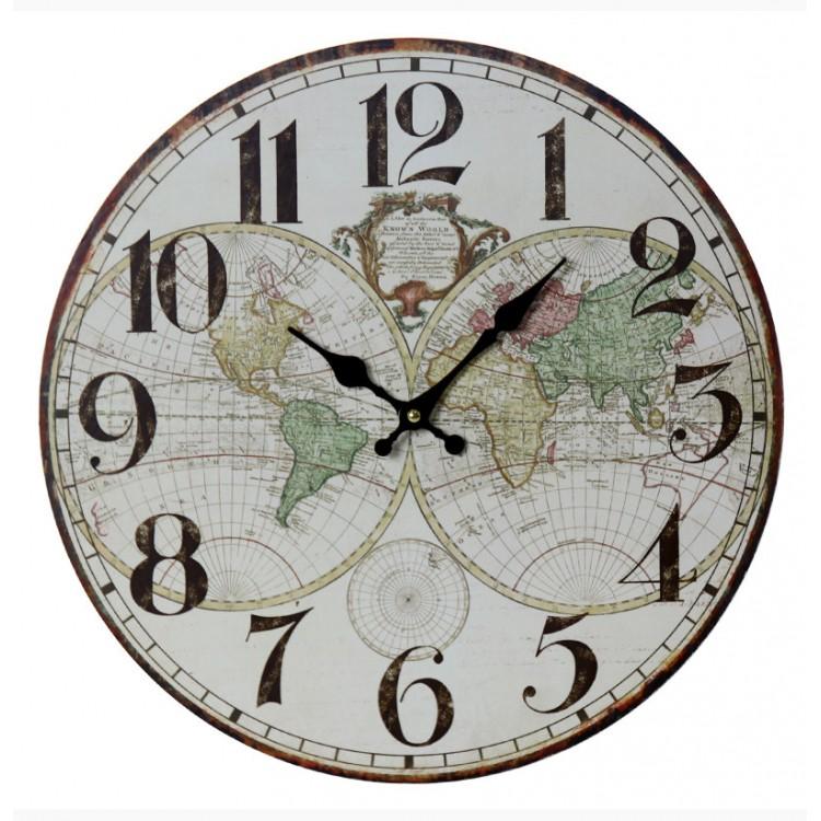 Reloj de Pared en Madera Mapamundi Diseño Clásico , Hogar y Mas