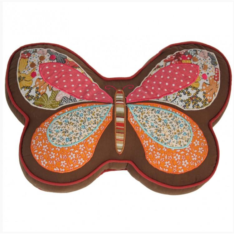 Cojín de Tela Mariposa de Colores Diseño Original