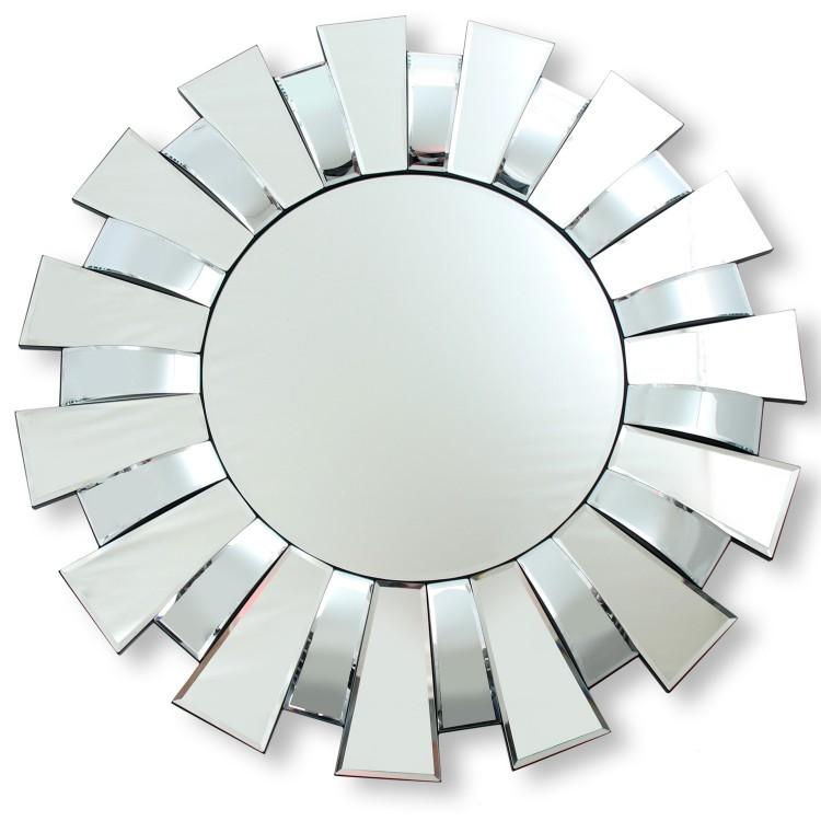 Espejo de pared Étnico moderno redondo color plateado