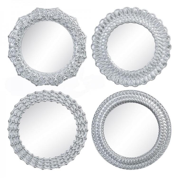 Espejo de Pared Plateado en Resina Diseño Clásico, Hogar y Mas